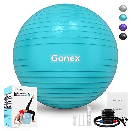 Gonex Gymnastikball 55cm Pilates Ball Robuster 998kg Maximalbelastbarkeit Dicker Anti-Burst Übungsball Sitzball Fitnessball Yoga Ball mit Pumpe Fitnessgeräte für Zuhause Büro Sport, Türkis