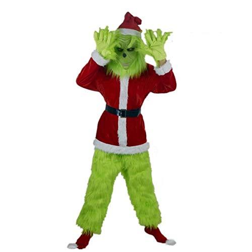 Z-Life Natale for Adulti Grinch Costume Xmas Deluxe Furry Santa Perfettamente Vestito Operato Cosplay Attrezzatura Verde con Maschera Cappello Cintura Guanti Scarpe Coperture for Uomo Bambini