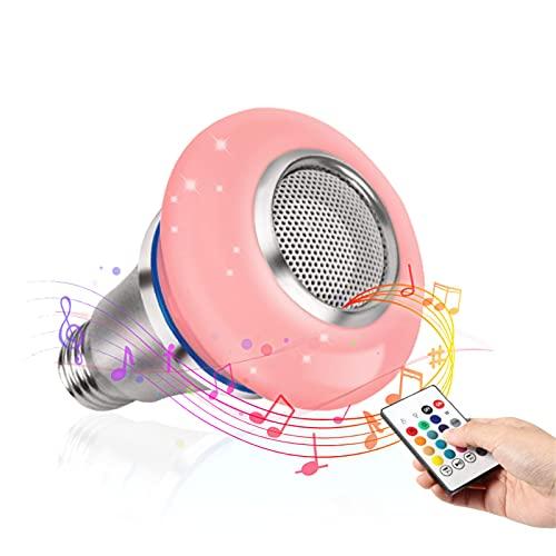 LCYZ E27 Bombilla Altavoz Bluetooth Inteligente, RGBW 8W Bombillas Música Inteligente Control Inalámbrico Color, con Control Remoto, para Decoraciones Fiesta, Hogar Y Dormitorio