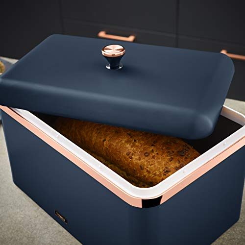 Tower Cavaletto Bread Bin - Midnight Blue and Rose Gold