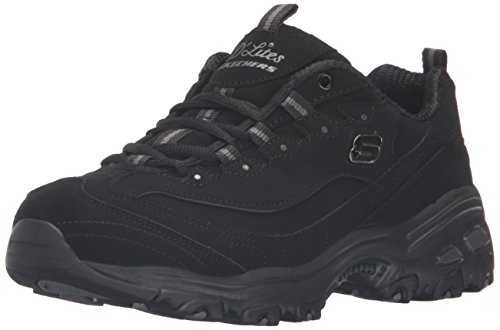 commercial Skechers Womens Sport D'Lites Play on Memory Foam Laces Black / Black 7W US skechers hiking boots