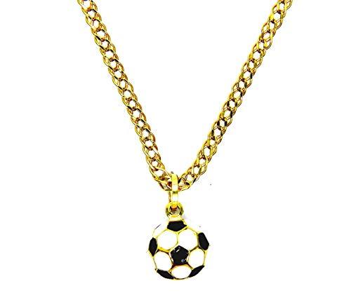 Collar de hombre de oro amarillo de 18 quilates (750), cadena rombo, 50 cm, colgante de balón de fútbol para niños
