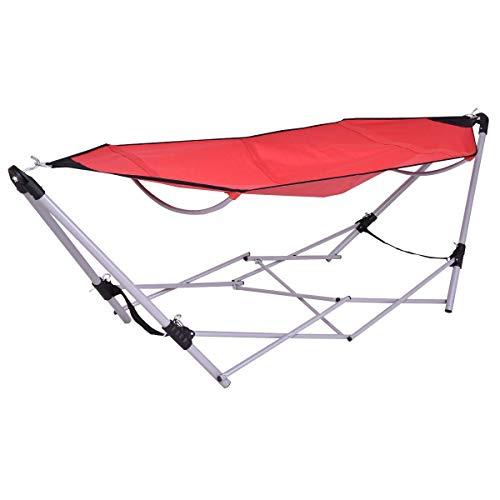 Portable Folding Hammock Lounge Camping Bed W/Carry Bag, Steel Frame Stand & Luxury Hammock for Outdoor, Garden and Patio (Red)