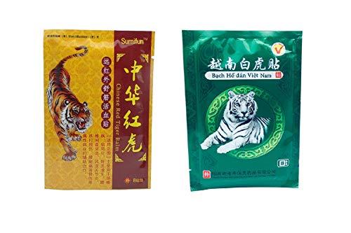 Parche de bálsamo de tigre rojo y blanco, lote de 16 unidades (2 paqu