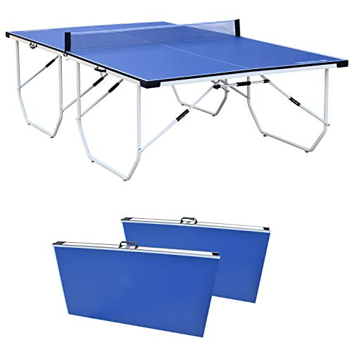 ALPIKA 9FT Professional Portable Table Tennis Table Indoor Outdoor Table Tennis Table 10 Minute Quick Assembly Adjustable Ping Pong Table with Single Player Playback Mode and Net