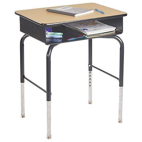 ECR4Kids ELR-24103F-MP 24' x 18' Adjustable Open Front Student Metal Book Box, Maple and Black Desk