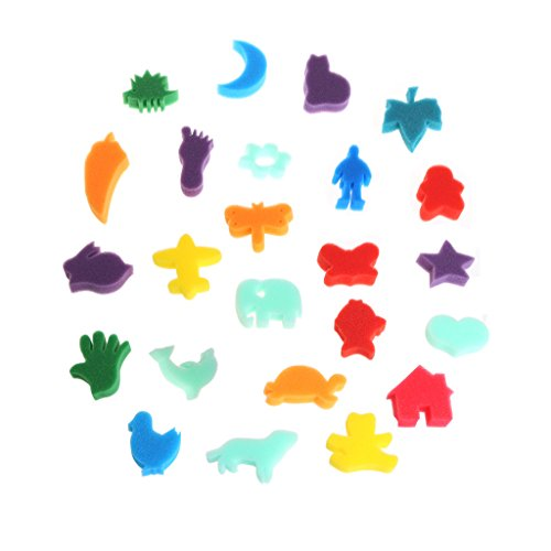 Itemap 24Pcs Sponge Set Children Kids Art Craft Painting DIY Toy Home Education School