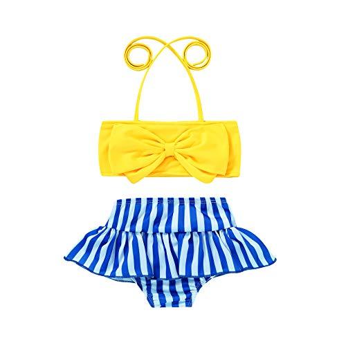 JEELLIGULAR Toddler Baby Girl Swimwear Bowknot Stripe Swimsuit Bathing Suit 2Pcs Bikini Set Outfits Summer (4-5T, Yellow)