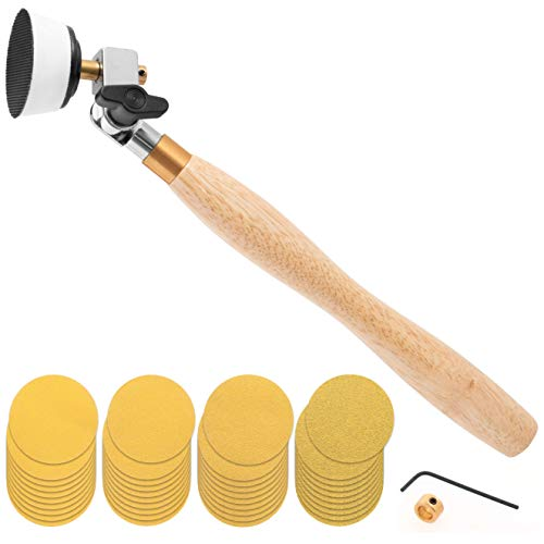 2 inch Diameter Bowl Sander with Dual Bearing Head and 2 inch Foam Hook and Loop Sander with 1/4 inch Mandrel and 9 inch Long Hardwood Handle
