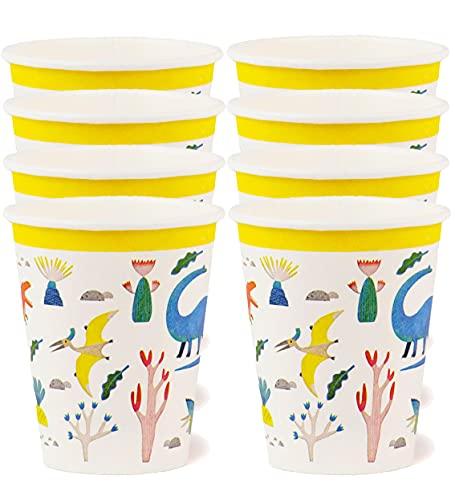 Talking Tables 8 Stück (250 ml) Dinosaurier-Papierbecher | Zero Plastic Home Recycelbar & biologisch abbaubar Pappbecher | Für Kindergeburtstag Party Unisex Partygeschirr für Jungen oder Mädchen