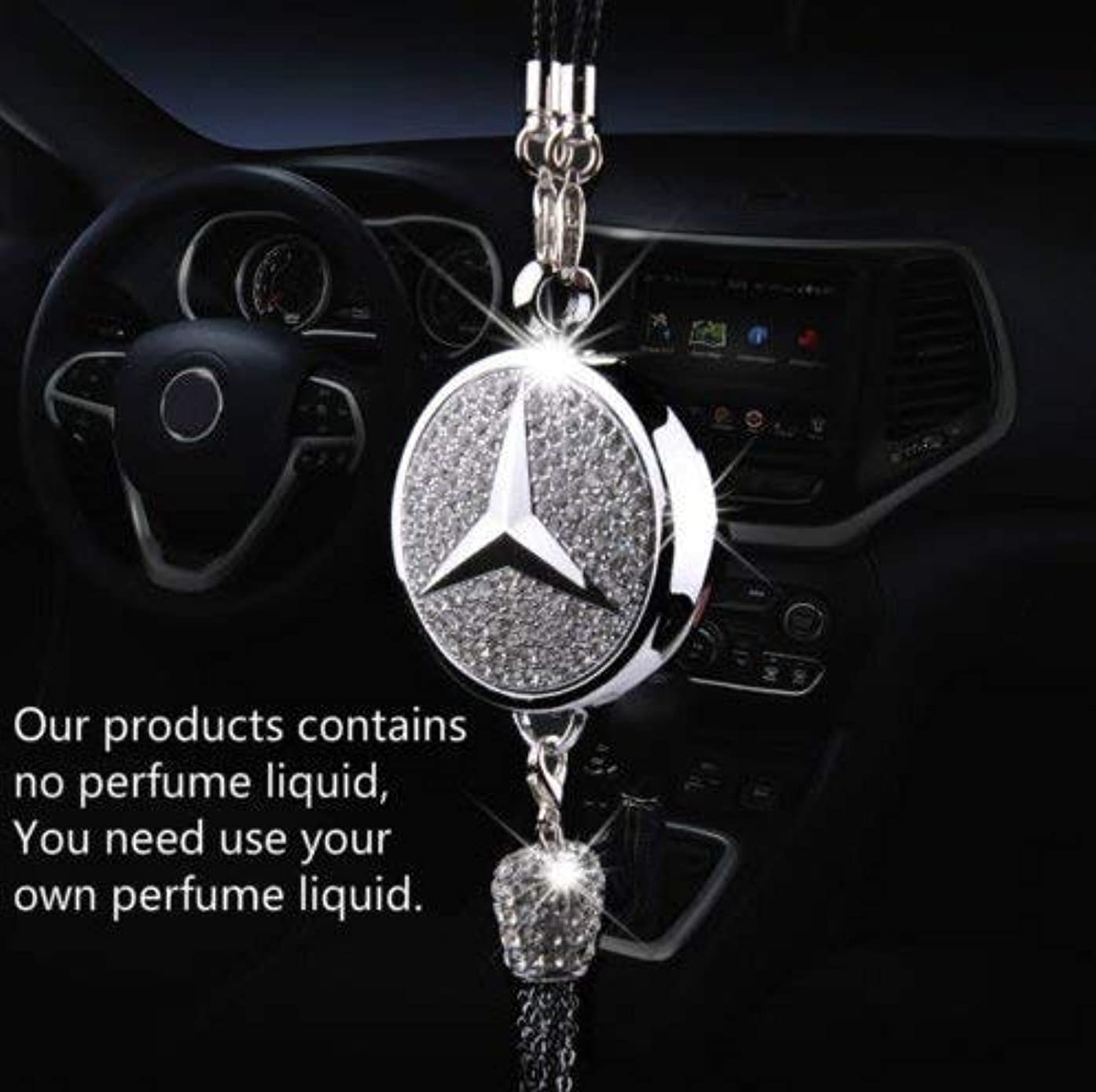 PATRICON Exquisite Car Logo Diamond Pendant Ornaments for Mercedes Benz Accessories, Car Perfume Hanging Air Refreshing Charm Decoration