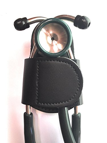 The BATCLIP (Black) - Premium Leather Handmade Clip-on Stethoscope Hip Holder; no More Neck...