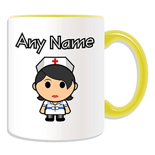 Gepersonaliseerd geschenk - Verpleegster in witte jurk zwarte haar mok (Carrière ontwerp thema, kleur opties) - elke naam/bericht op uw unieke - nationale NHS ziekenhuis werknemer personeel uniform rood kruis hoed algemene praktijk huisarts beroep