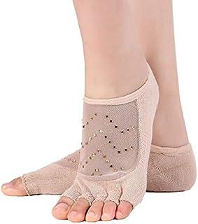 Calcetín de algodón para Mujer Malla Hilados Punto Calcetines de Yoga para Mujer Calcetines Antideslizantes de Fitness Calcetines Deportivos de algodón para Mujer Calcetines Negros