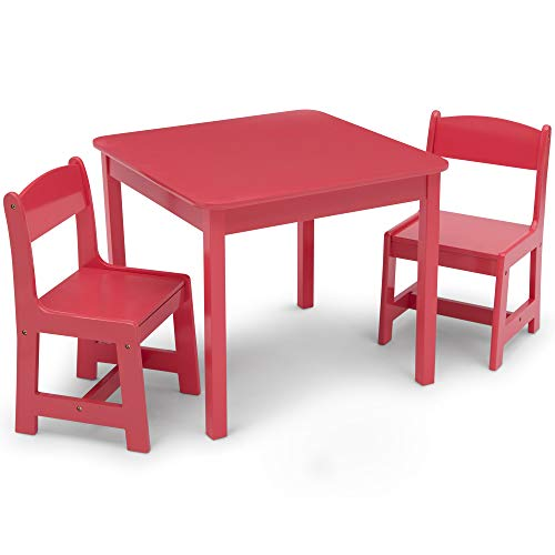 Delta Children MySize Kids Wood Table and Chair Set (2 Chairs Included) - Ideal for Arts & Crafts, Snack Time, Homeschooling, Homework & More, Watermelon