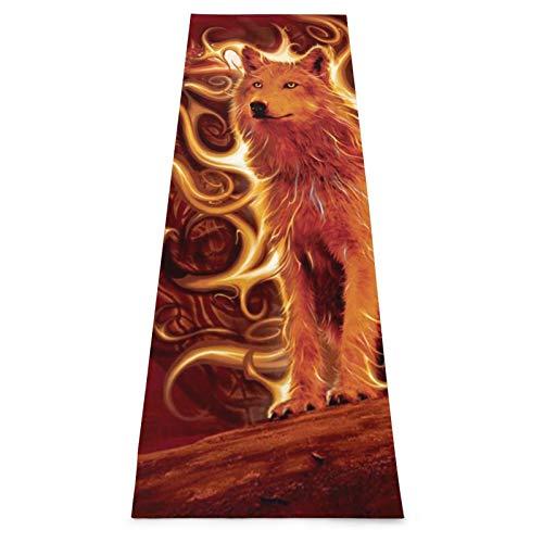 Phoenix Wolf - Esterilla de yoga gruesa antideslizante con correa de transporte, esterilla de entrenamiento para yoga, hogar, gimnasio, gimnasio y gimnasia