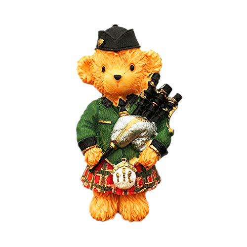Britse schattige doedelzak geruite rok beer 3D koelkastmagneet ambachten souvenir hars koelkastmagneten collectie reisgeschenk