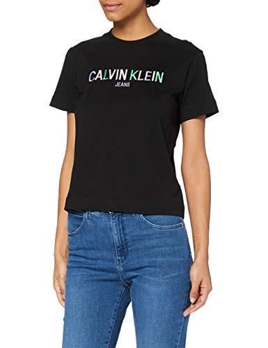 Calvin Klein Jeans Multicolored Logo Tee Collare spalmato, CK Nero, XL Donna