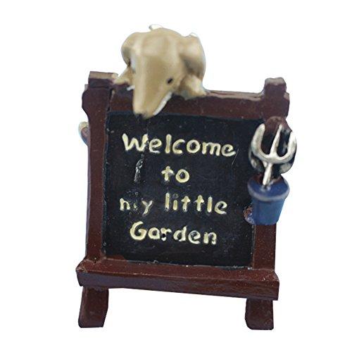 Outflower miniature en bois Welcome avec animaux Fée Décorations de jardin Mini pot Décor Paysage Fish Tank Résine Accessoires DIY Home Décor de jardin, Résine, marron, 3.5*3.2*5.8cm