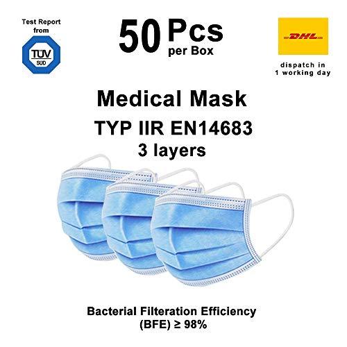 50X Medizinische Mundschutz OP Maske Atemschutz 3-Lagig TYP IIR BFE 98% TÜV Testreport Gesichtsmaske MNS Schutzmaske Lager in Darmstadt Blitzversand, Blau 50 St./Box