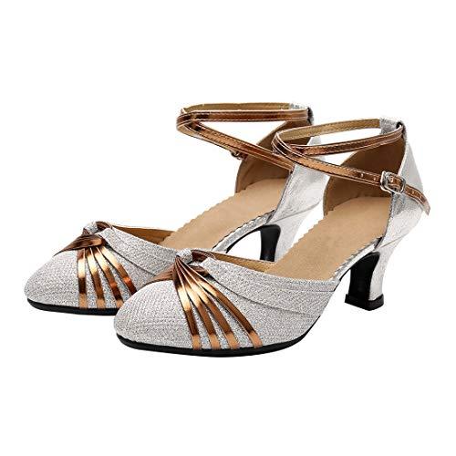 Zapatos de Baile Latino de Tacón Medio para Mujer Zapatillas de Baile de Salón Salsa Performance de Moda Brillante #2 34 Asian