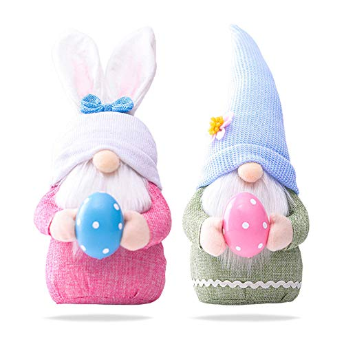 2 Pezzi di Gnomi Pasqua Set Bambola Peluche Senza Volto Fatti a Mano Gnomo di Pasqua Bambola di Peluche Statuetta di Pasqua Gonk Nano Elfo Domestico Feltro Decorazione Ornamenti San Valentino Regalo