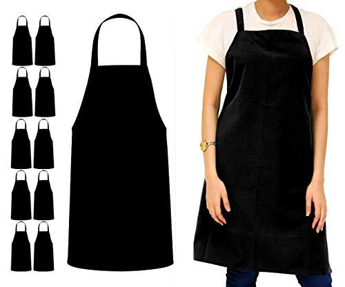 Avalon Kitchen - Juego de 12 delantales unisex con lazos extralargos de 81 x 71 cm, Negro, 32x28 inches
