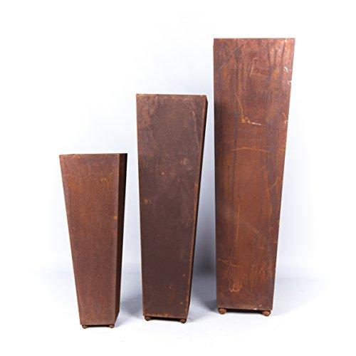 pflanzgefäss carré conique pour planter Coque Métal Rouille Décoration 75 cm