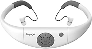 Tayogo Waterproof MP3 Player, IPX8 Swimming Headphones with Shuffle Feature - White