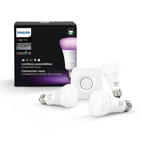 Philips Hue White and Color Ambiance A19 60W Equivalent LED Smart Bulb Starter Kit (3 A19 Bulbs and 1 Hub Compatible with Amazon Alexa Apple HomeKit  and Google Assistant)