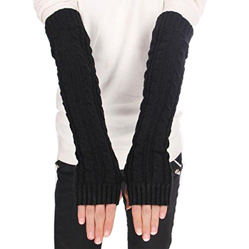 Butterme Della donna lana extra lunghi Guanti senza dita elastico Manicotti invernali Guanti in maglia a maglia senza dita braccio scaldini Mittens