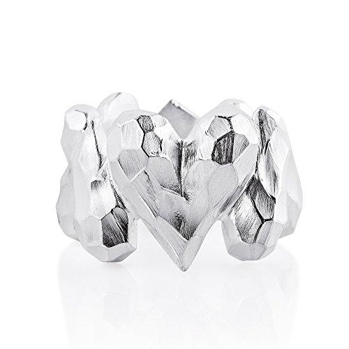Drachenfels Luxus Damen Bandring Silber aus der Kollektion Heartbreaker | Faszinierender Herz Ring | Edler Designer-Schmuck, Designer-Ring