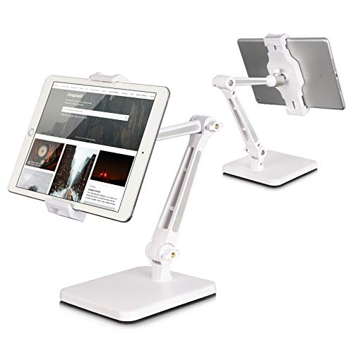 Tablet Stand and Holder Adjustable, Tablet Stand for Desk, Foldable iPad Holder Stand 360° Swivel Angle Rotation for iPad Pro 12.9, Surface Pro (4.7''-12.9'') (longwhite)