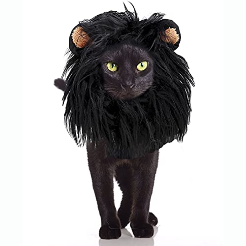 Dog Cat Wig Pet Costumes, Lion Hair Headgear for Small Puppy Cosplay Costume, Black Lion Mane Wig for Dogs Cats Christmas Halloween Costume Clothes Party Festival Fancy Dress Up
