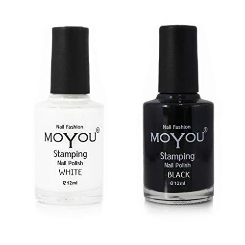 Moyou Nails WHITE NIGHT- Nagel Stempellack 2 Pack Nagellack – Schwarz und Weiß, für wunderschöne Nagel Stempelmotive, Nageldesigns
