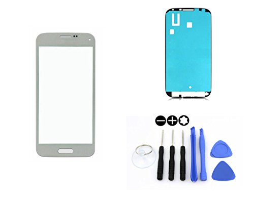 R.P.L. FRONTGLAS SET passend für SAMSUNG Galaxy S5 mini Weiss White G800 / Frontglas / Glas / Displayglas / LCD Reparatur / LCD Display / Klebefolie / Glass Replacement / 8 - Teiliges Werkzeugset TOOLS