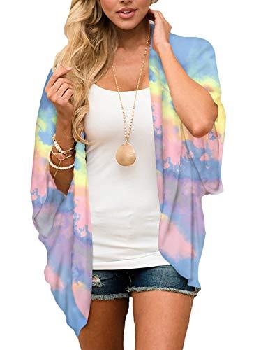 Yonhee - Kimono para mujer, diseño floral, para playa, estilo boho Morado Morado ( L