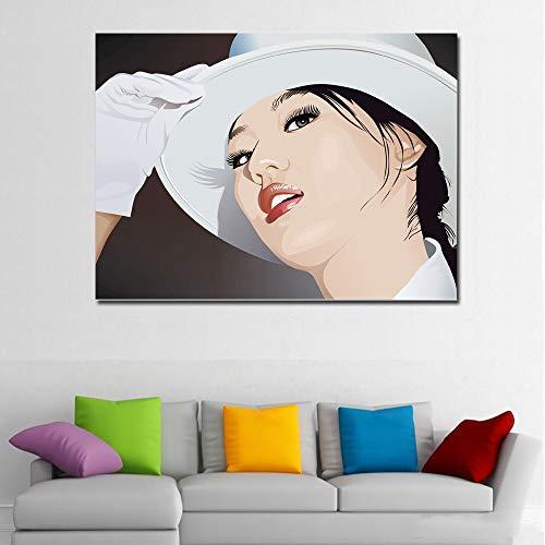 DIY Pintar por números Peinture d'art photo de belle fille au chapeau blanc pintar por numeros para adultos Con pincel y pintura acrílica pintura por números para adultos pint50x70cm(Sin marco)
