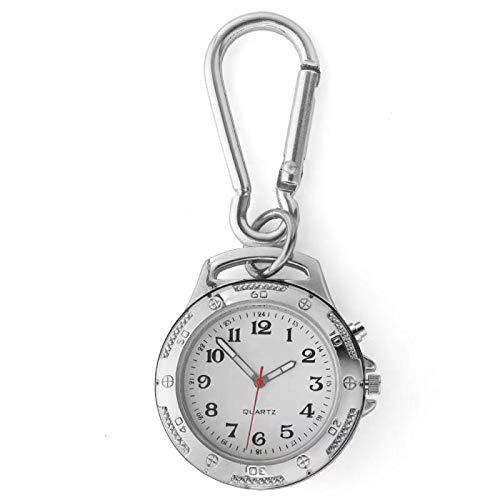 Sprechende Uhren mit Clip Schlüsselanhänger Karabiner Unisex für ältere Menschen mit Sehbehinderung Lauter Klang für Sport im Freien Metall Analog Quarz Uhr Tag Datum Wecker