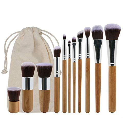 Brosse pratique de maquillage poignée 11 de bambou, le lin sac de brosse outil de maquillage d'emballage, approprié pour blush poudre de teint sourcils d'ombre à paupières crème