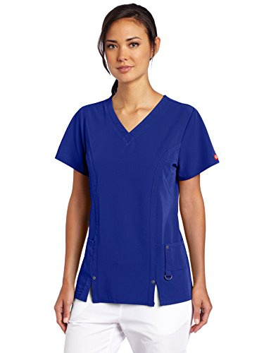 Dickies Women's Xtreme Stretch V-Neck Scrubs Shirt, Galaxy Blue, X-Large