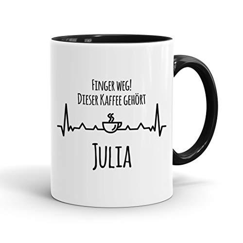 True Statements Tasse Finger weg Dieser Kaffee gehört Wunschname personalisiert - personalisierte Kaffeetasse mit Wunsch-Name ? spülmaschinenfest ? tolles Geschenk zu Weihnachten, innen schwarz