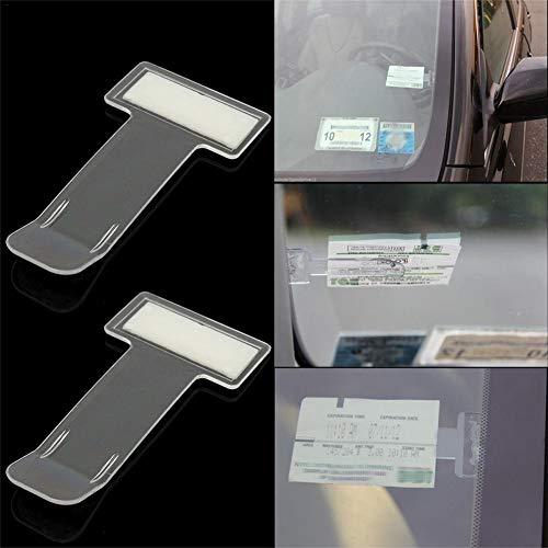 thorityau 2 Stück Transparent Parkscheinhalter Selbstklebend Transparent Tickets Clips Halter Für Elektronische Parkscheibe Mit Zulassung Auto Windschutzscheibe