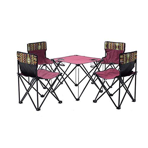 FU LIAN Campingtisch und Stuhl Set Portable Faltbar Outdoor Terrasse Camping Strand Picknick mit Getränkehalter und Tragetasche Rot