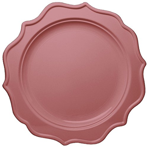 Posh Setting Festive Collection Pink Plates Scalloped Medium Weight Plastic Pink Colored 8 inch Party Plates (12 Pack)