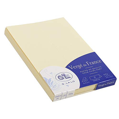 G.Lalo - Cartulina (25 unidades, 35 x 100, papel verjurado, 210 g, 10,1 x 7 x 1), color beige