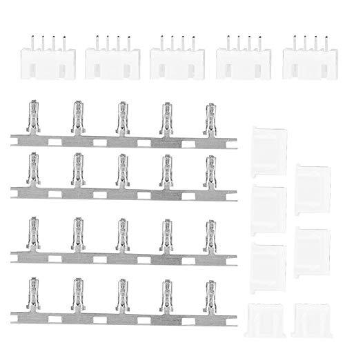 Tbest 5 Paar JST-Steckverbindersatz, 2/3/4-poliges Gehäuse JST-Steckverbinderstift Männlich Weiblich Balancer-Ladegerät-Steckverbinder(3S)