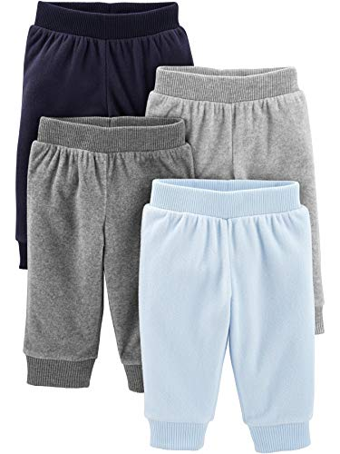 Simple Joys by Carter's Boys' 4-Pack Fleece Pants, Heather Grey/Navy/Light Blue, 6-9 Months