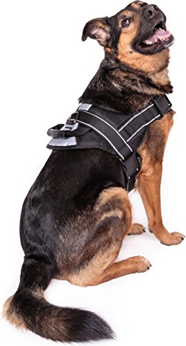 No Pull Dog Harness Large Breed - Training Harnesses for Large Dogs, Black Dog Vest with Handle & 3M Reflective Material for Extra Control and Safety XL Size