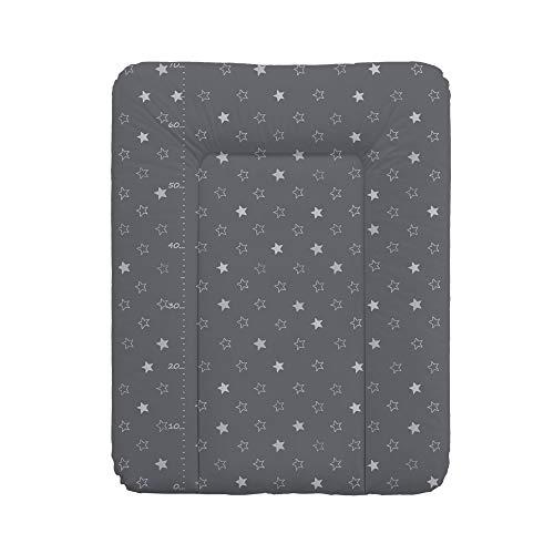 Wickelauflage Wickelunterlage Wickeltischauflage 70x50 cm Abwaschbar - Dunkelgrau Sterne 70 x 50 cm